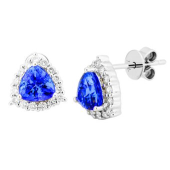 14k White Gold .36ctw Diamond 1.50ct Tanzanite Earrings