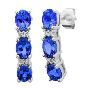 14k White Gold .06ctw Diamond 2.70ct Tanzanite Earrings