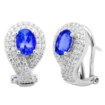 14k White Gold .83ctw Diamond 1.90ct Tanzanite Earrings
