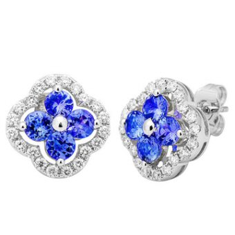 14k White Gold .52ctw Diamond 1.60ct Tanzanite Earrings