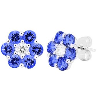 14k White Gold .32ctw Diamond 2.40ct Tanzanite Earrings