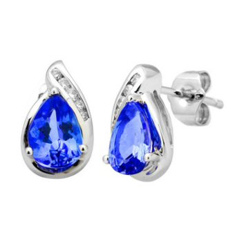 14k White Gold .07ctw Diamond 1.50ct Tanzanite Earrings