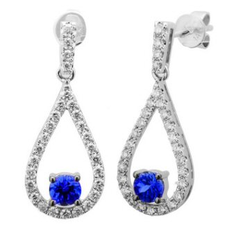 14k White Gold .62ctw Diamond .52ct Tanzanite Earrings