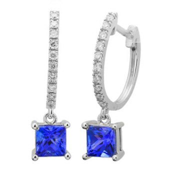 14k White Gold .18ctw Diamond 1ct Tanzanite Earrings