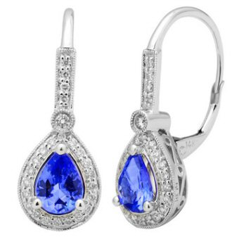 14k White Gold .27ctw Diamond 1.50ct Tanzanite Earrings