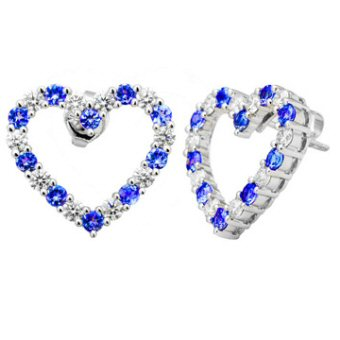 14k White Gold 1.28ctw Diamond 1.16ct Tanzanite Earrings