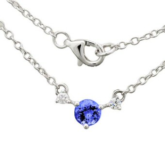 14k White Gold .08ctw Diamond .40ct Tanzanite Necklace