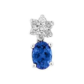14k White Gold .15ctw Diamond .95ct Tanzanite Pendant