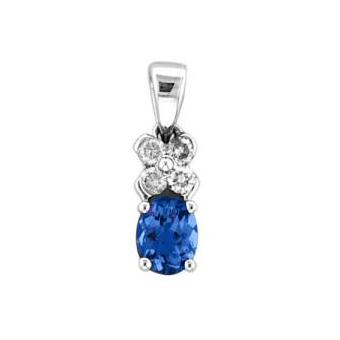 14k White Gold .11ctw Diamond .55ct Tanzanite Pendant