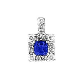 14k White Gold .22ctw Diamond .35ct Tanzanite Pendant