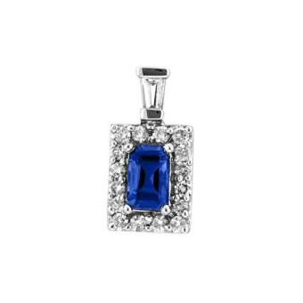 14k White Gold .19ctw Diamond .65ct Tanzanite Pendant