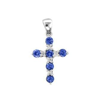 14k White Gold .05ctw Diamond .42ct Tanzanite Pendant