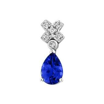 14k White Gold .04ctw Diamond .75ct Tanzanite Pendant