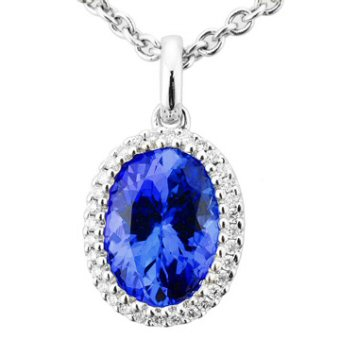 14k White Gold .10ctw Diamond 2ct Tanzanite Pendant