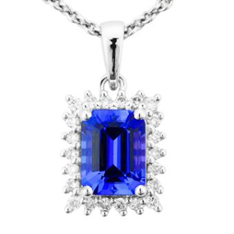 14k White Gold .22ctw Diamond 1.50ct Tanzanite Pendant