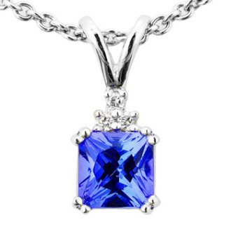 14k White Gold .04ctw Diamond 1.50 ct Tanzanite Pendant
