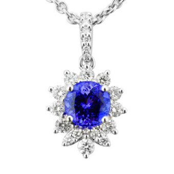 14k White Gold .37ctw Diamond .90ct Tanzanite Pendant
