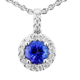 14k White Gold .21ctw Diamond .90ct Tanzanite Pendant