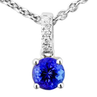 14k White Gold .03ctw Diamond .55ct Tanzanite Pendant