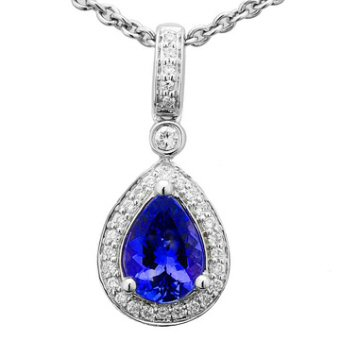 14k White Gold .13ctw Diamond 1ct Tanzanite Pendant