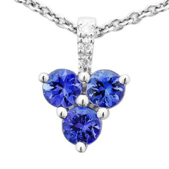 14k White Gold .04ctw Diamond .78ct Tanzanite Pendant