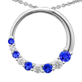 14k White Gold .65ctw Diamond 1.12ct Tanzanite Pendant