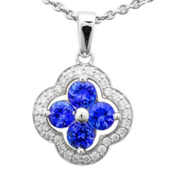 14k White Gold .22ctw Diamond 1.04ct Tanzanite Pendant
