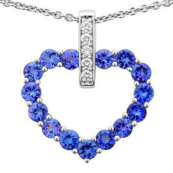 14k White Gold .15ctw Diamond 3ct Tanzanite Pendant