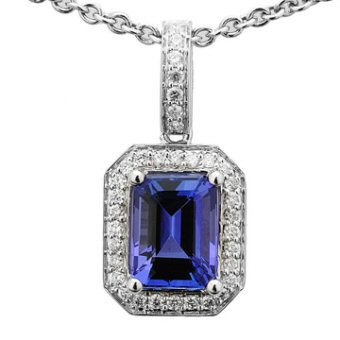 14k White Gold .20ctw Diamond 1.50ct Tanzanite Pendant