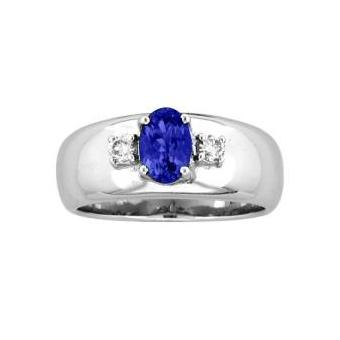 14k White Gold .10ctw Diamond .95ct Tanzanite Ring