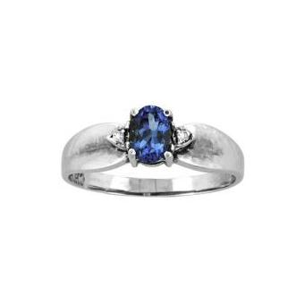 14k White Gold .02ctw Diamond .55ct Tanzanite Ring