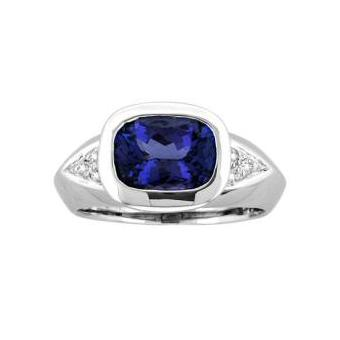 14k White Gold .06ctw Diamond 3.25ct Tanzanite Ring