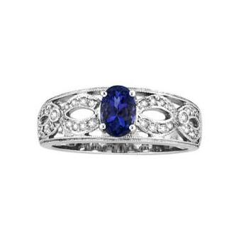 14k White Gold .16ctw Diamond .80ct Tanzanite Ring