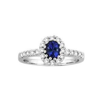 14k White Gold .33ctw Diamond .85ct Tanzanite Ring
