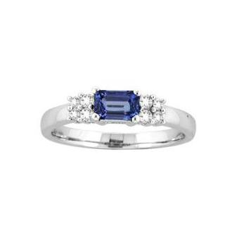14k White Gold .20ctw Diamond .65ct Tanzanite Ring