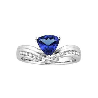 14k White Gold .24ctw Diamond 1.30ct Tanzanite Ring