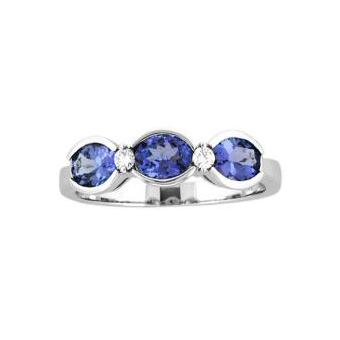 14k White Gold .07ctw Diamond 1.35ct Tanzanite Ring