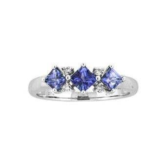 14k White Gold .05ctw Diamond .60ct Tanzanite Ring