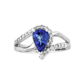 14k White Gold .31ctw Diamond 1.35ct Tanzanite Ring