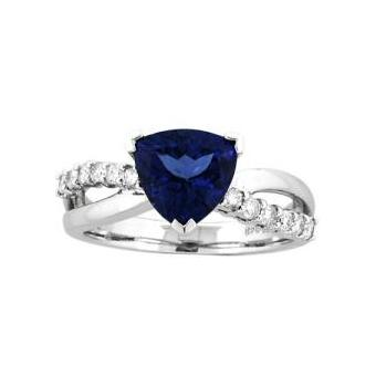 14k White Gold .25ctw Diamond 1.70ct Tanzanite Ring