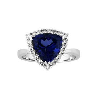 14k White Gold .24ctw Diamond 2.50ct Tanzanite Ring