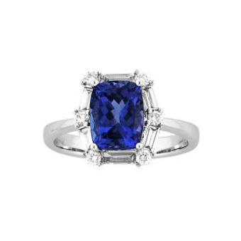 14k White Gold .50ctw Diamond 2.25ct Tanzanite Ring