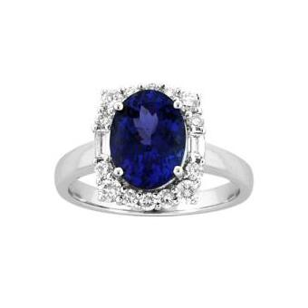 14k White Gold .6ctw Diamond 2.25ct Tanzanite Ring