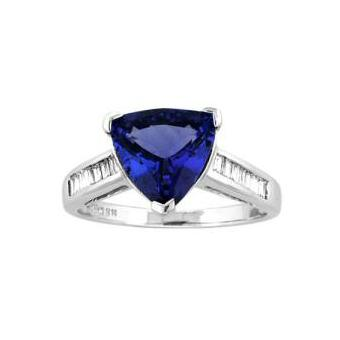 14k White Gold .25ctw Diamond 4.05ct Tanzanite Ring