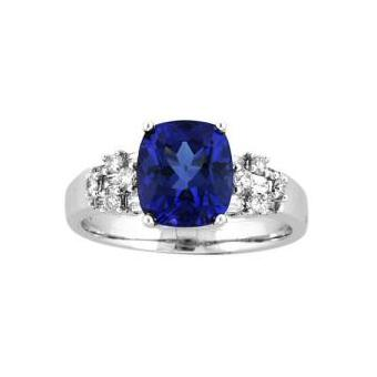 14k White Gold .27ctw Diamond 2.50ct Tanzanite Ring
