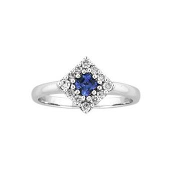 14k White Gold .26ctw Diamond .25ct Tanzanite Ring