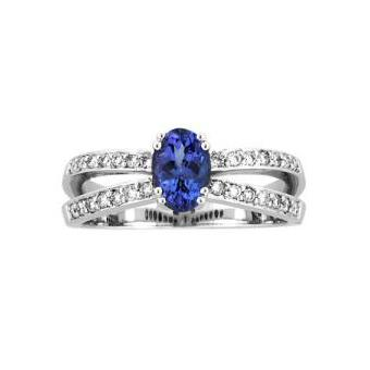 14k White Gold .22ctw Diamond .95ct Tanzanite Ring