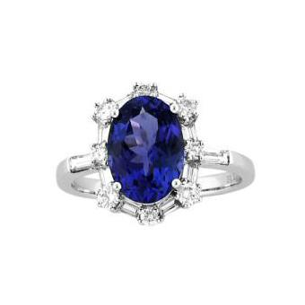 14k White Gold .74ctw Diamond 2.75ct Tanzanite Ring