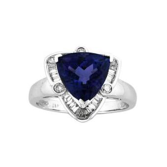 14k White Gold .68ctw Diamond 2.50ct Tanzanite Ring