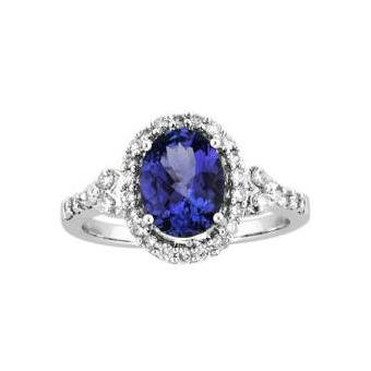 14k White Gold .51ctw Diamond 2.75ct Tanzanite Ring